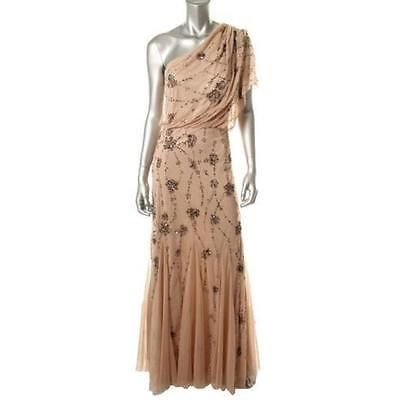 Adrianna-Papell-0620-Womens-Beige-Embellished-Blouson-Evening-Dress-Gown-