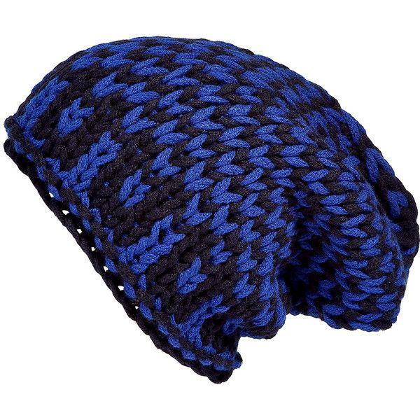 IRIS VON ARNIM X STYLEPROOFED.COM Royal Blue Zig Zag Patterned Beanie ($132) ❤ liked on Polyvore