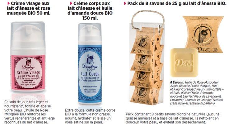 Les bienfaits « tenseur » et « anti-rides » du lait d'ânesse sont connus depuis l'antiquité, notamment car il contient beaucoup de rétinol « Vitamine A ». Il aide également à la régénération de la peau. Découvrez 3 produits cosmétiques essentiels – Une crème visage, un lait pour le corps et des petits savons – à base de lait d'ânesse BIO, de la marque Donkeys & Co. Des produits français, BIO et de qualité, à prix mini sur www.maboutiquetopsante.com.