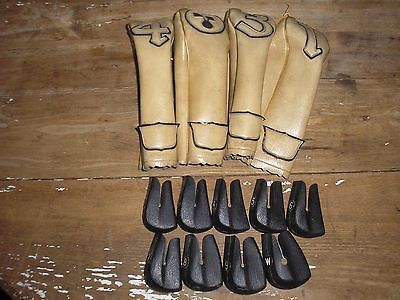 VINTAGE WILSON GOLF CLUB COVERS 1-4 & IRON COVERS 1940'S LEATHER PERFECT