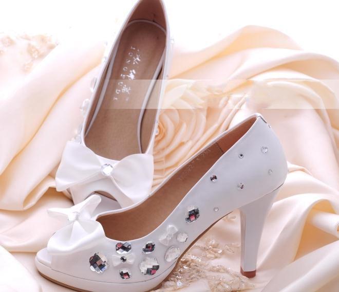 Белый горный хрусталь женщина свадьба обувь девушку свадебное обувь леди белый галстук-бабочка ну вечеринку пром обувь высокая пятки обувь