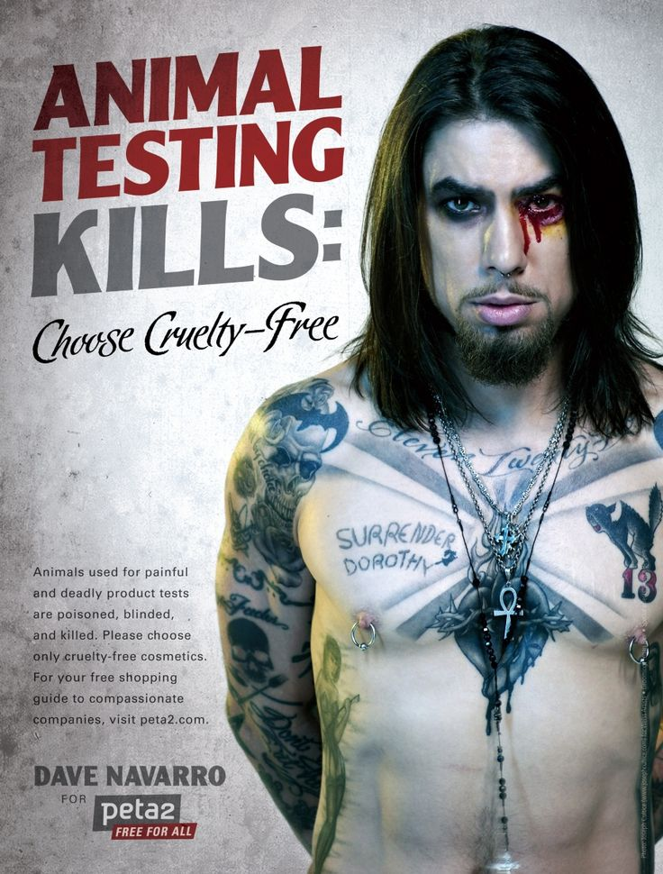 Dave Navarro's Cruelty-Free Ad | Heroes | peta2.com! Love him and what he stands for, worth the pin and your visit to this site!