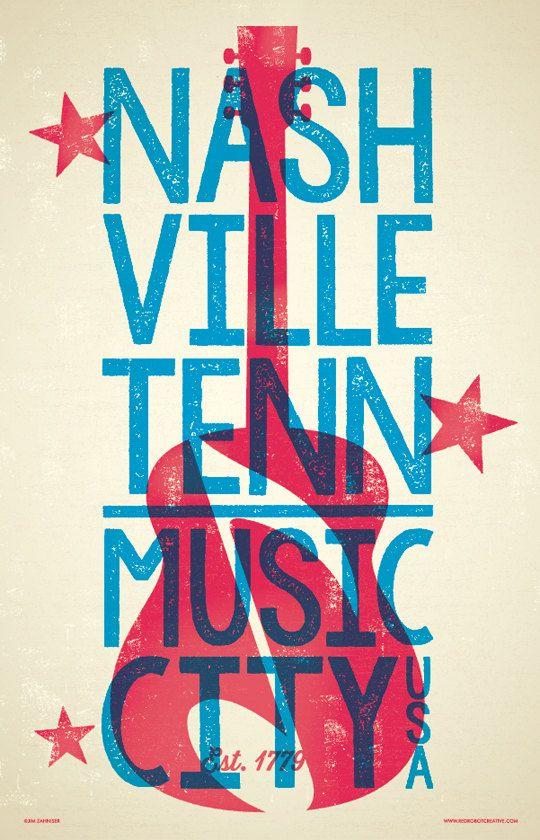Nashville Poster - Music City U.S.A. by RedRobotCreative Letterpress Hatch Show Style