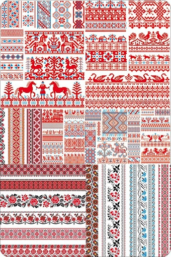 Slavic Folk Redwork (folk work, rushnyk, mostly post SCA period examples with some earlier influences)