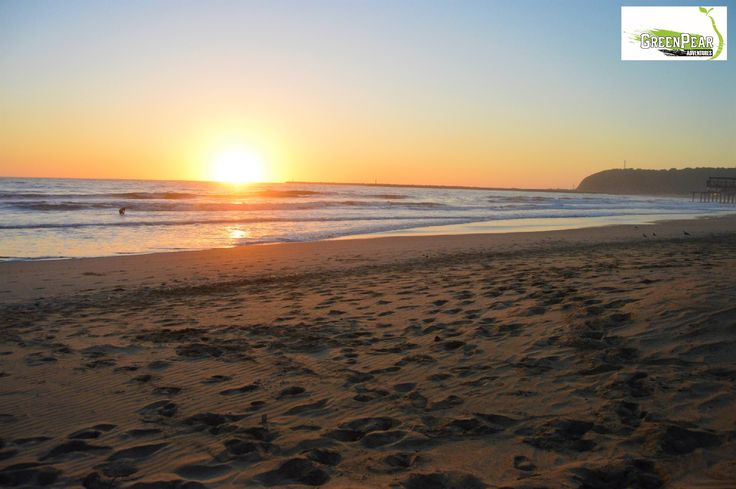 Sunrise on Durban beach, South Africa.