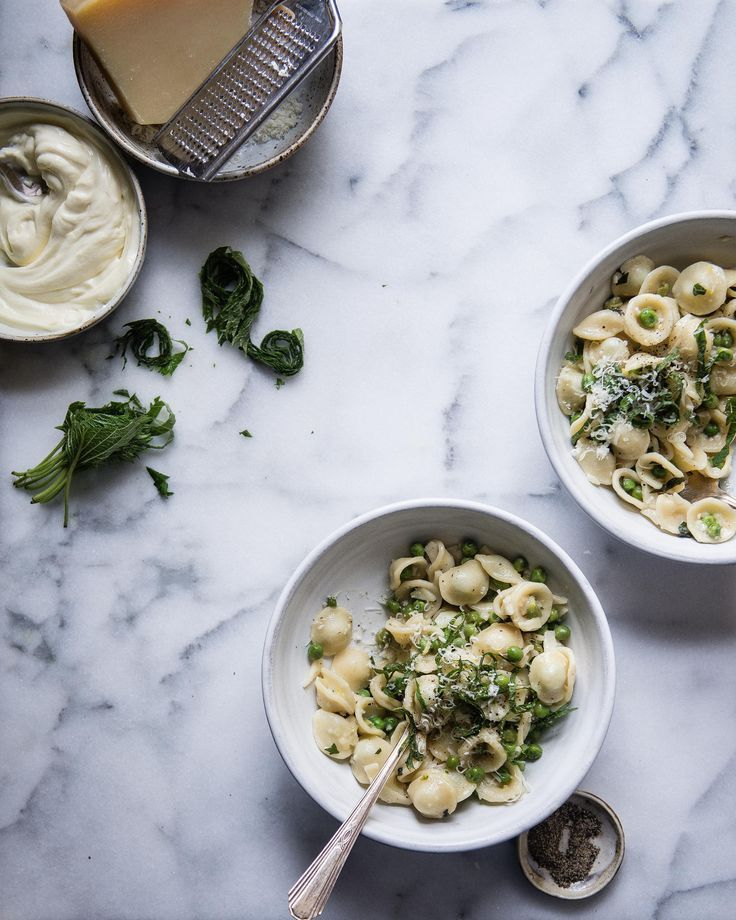 spring pea pasta with lemon & shiso   two red bowls