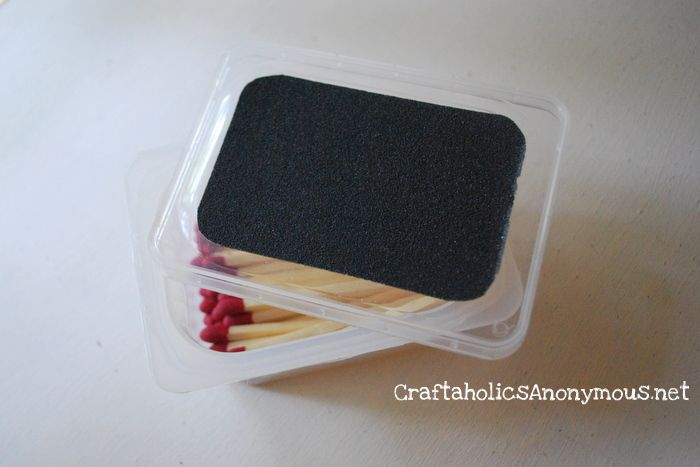 Upcycle empty baby food containers into matchboxes!.