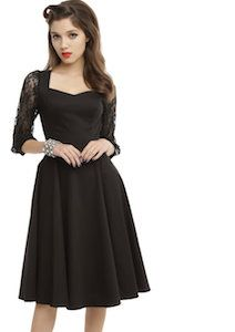 Black Fit And Flare Dress With Lace Sleeves