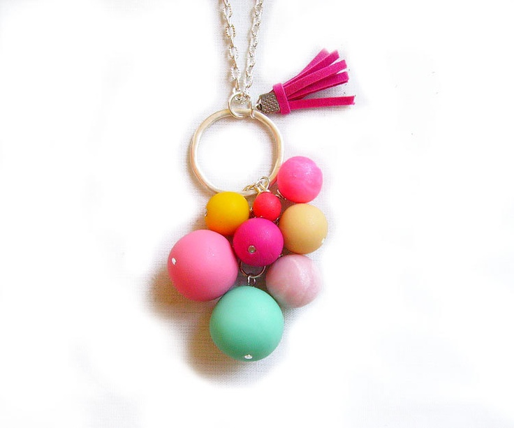 Bubble Candy Cloud Necklace - Pastel Rainbow Handmade Polymer Clay  Necklace. $22.50, via Etsy.