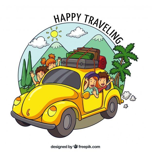 Schastlivaya Semya Puteshestvuyushaya V Stile Ruchnoj Raboty Travel Cartoon Budget Travel Family Trip Illustration