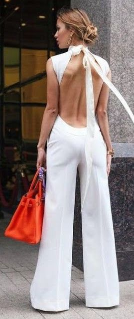 Women's fashion | Open back white jumpsuit with orange tote bag