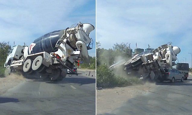 Shocking moment cement mixer nearly crushes motorist and his passenger