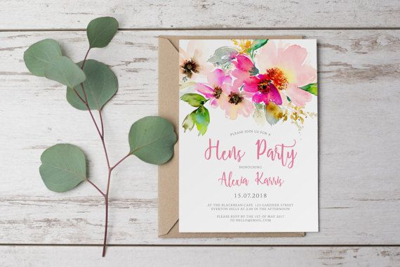 DIY Printable Watercolour Flower Bridal Shower / Hens Party Invitation in Bright Pink, Pastel Pink and Green   Floral
