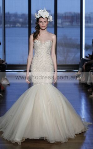 Sleeveless Zipper Tulle Sweetheart Mermaid Wedding Dresses gjcf1009--Hodress