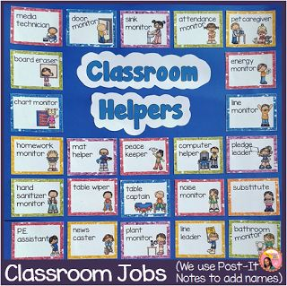 This is a classroom helpers chart for delegating classroom jobs. $