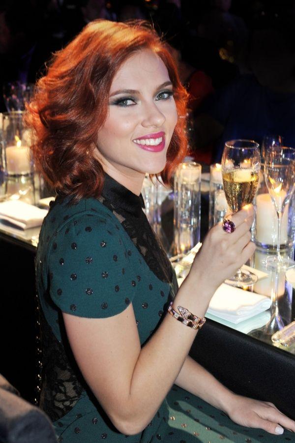 Scarlett Johansson: Red curly hair medium length