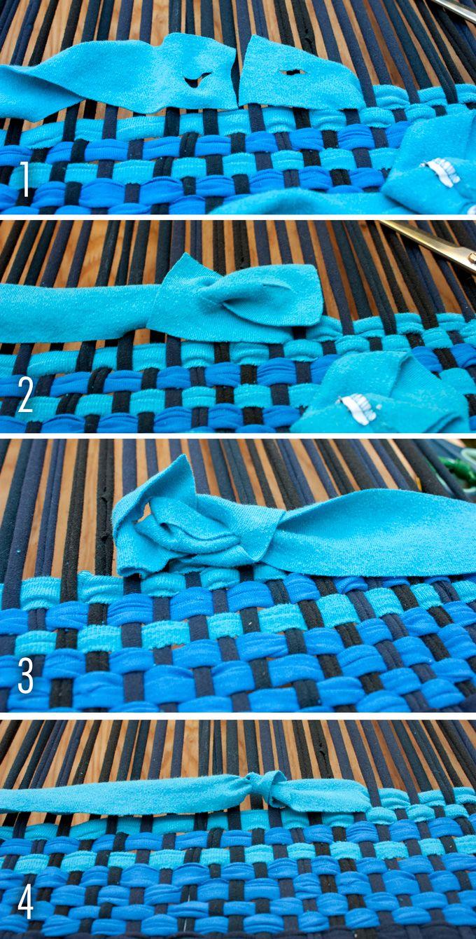 DIY: No Sew Woven T-Shirt Rag Rug | http://adventures-in-making.com/diy-no-sew-t-shirt-rag-rug/