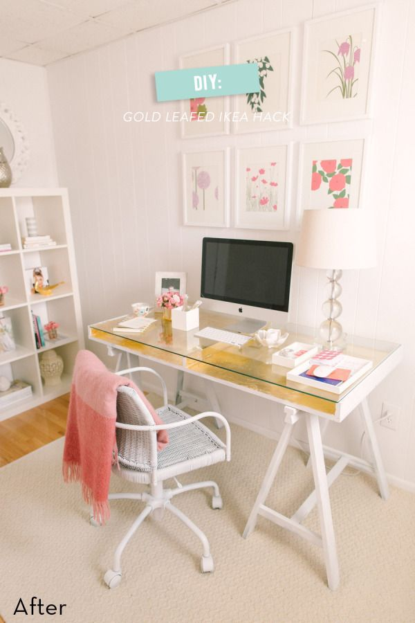 Before and After: Glam Gilded IKEA Desk Makeover » Curbly | DIY Design Community