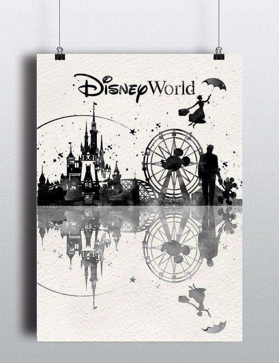 Disney World  Print Watercolor Disney print Disney by LACOTEDESIGN