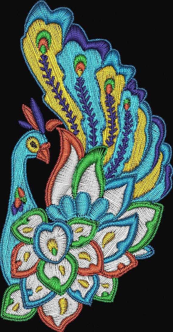Jacobean Peacocks Birds Machine Embroidery Designs Instant Download