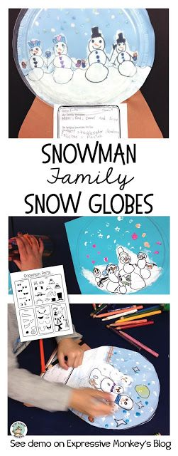 See how to make this Snowman Family Snow Globe.  This winter craft project & writing activity also makes a great art lesson about families and identity.  #Snowman #Snowglobe #ArtLesson #WinterArt #Crafts #Wintercrafts