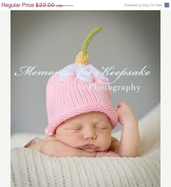 On sale upsy daisy hat pink newborn baby flower hat cap cute knit