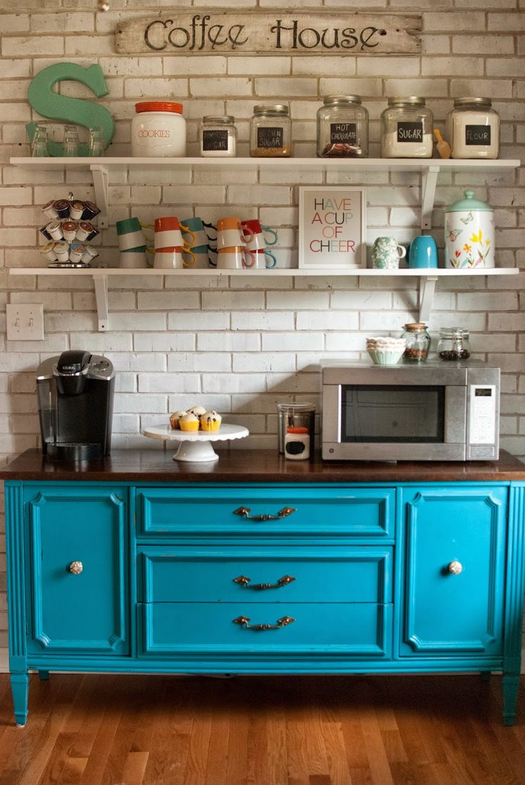 I really like that piece of furniture and the shelves. Might look good in my kitchen