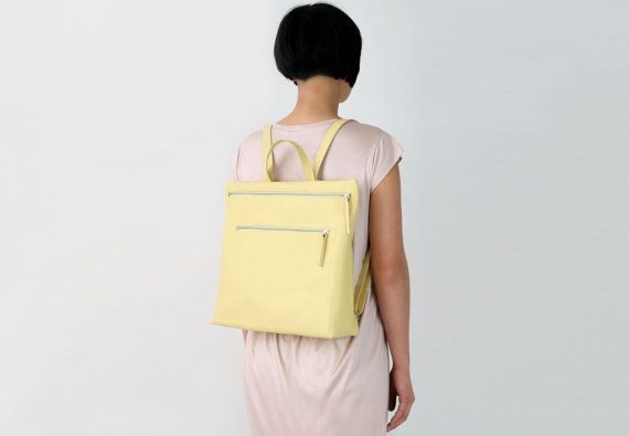 leather backpack light yellow, backpack purse, hipster backpack, zipperd backpack, minimal yellow backpack
