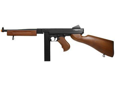 Thompson M1A1 Airsoft AEG, Stick Mag airsoft gun by CyberGun. Save 31 Off!. $89.95. The M1A1 Tommy gun sets a standard of excellence for fierce rapid fire shooting in the battlefield. This awesome submachine gun features an imitation wood stock, a 40 rd stick magazine, and a shot velocity of 328 fps (using .12g BBs). Switch effortlessly between semi-automatic and fully-automatic shooting with a flick of the fire selector switch. An adjustable hop-up unit also lets you adjust the per...