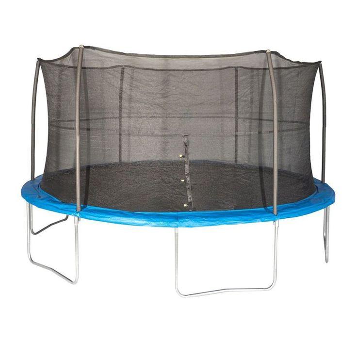 JumpKing 15 Foot Outdoor Trampoline & Safety Net Enclosure Kit, Blue   JK15VC2