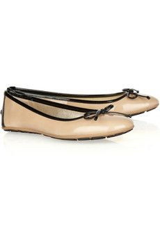"""""""The perfect ballet flats are at the top of every woman's wardrobe wish list, and Jimmy Choo's sweet neutral-hued pair rises to the occasion. Classic to the core, this chic patent-leather style will transcend every season - wear them for a ladylike finish to both work and weekend outfits."""""""