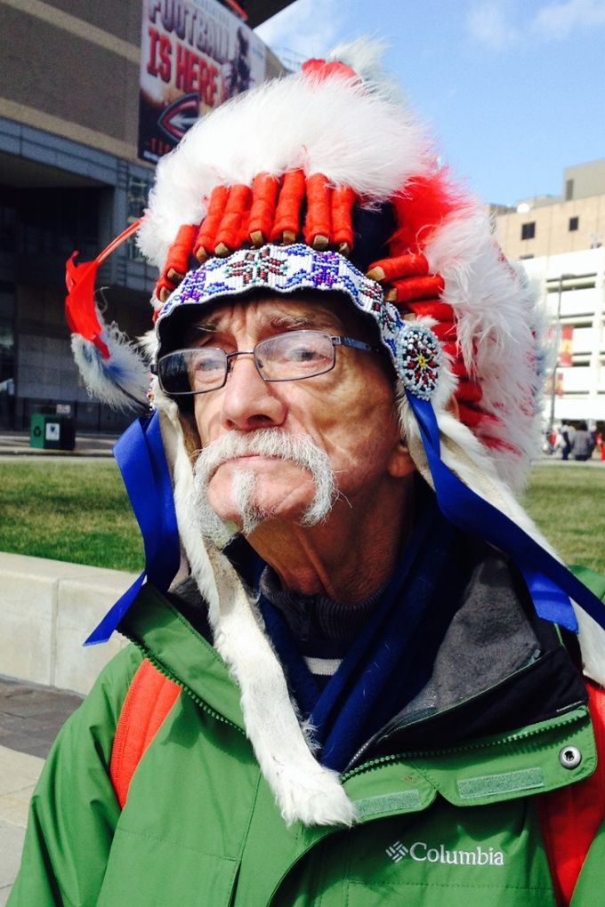 Native Americans protest Chief Wahoo logo at Cleveland Indians home opener