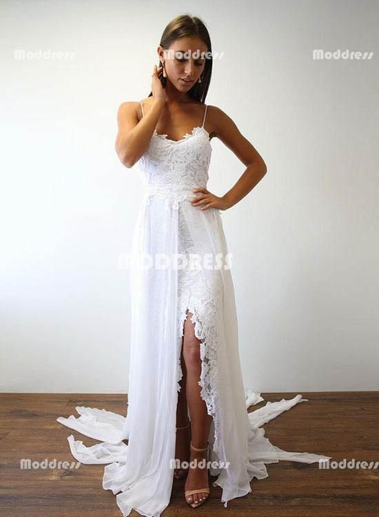 d00f96b809 White Lace Long Prom Dresses Beach Backless Evening Dresses Slit Formal  Dresses,HS794 #fashion#promdress#eveningdress#promgowns#cocktaildress