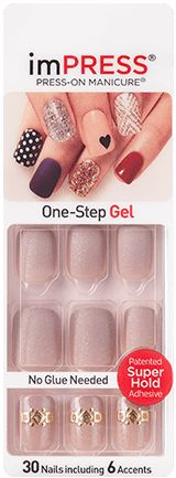 imPRESS Matte Gel Nails with Shiny Design Accents - Flamingo