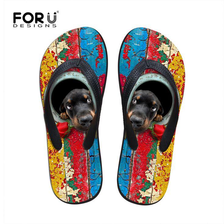 FORUDESIGNS Women Platform Slippers,2017 Designer Flip Flops for Women,Animal Dog Rubber Flip Flop Ladies Summer Beach Slippers