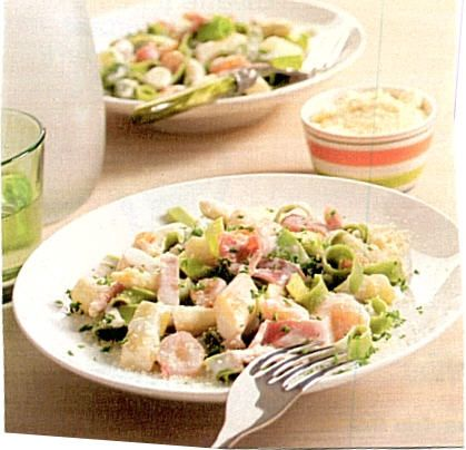 Tagliatelle met asperges garnalen en ham