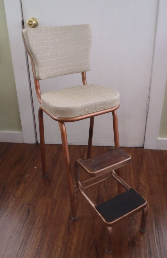 vintage ivory copper kitchen step stool chair folding plans with handle seat nz