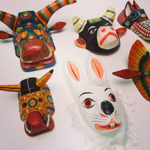 Here are some friends I have been working alongside today — these handmade and hand-painted wooden and papier-mâché masks. http://www.lasninastextiles.com/?s=mask&submit.x=0&submit.y=0