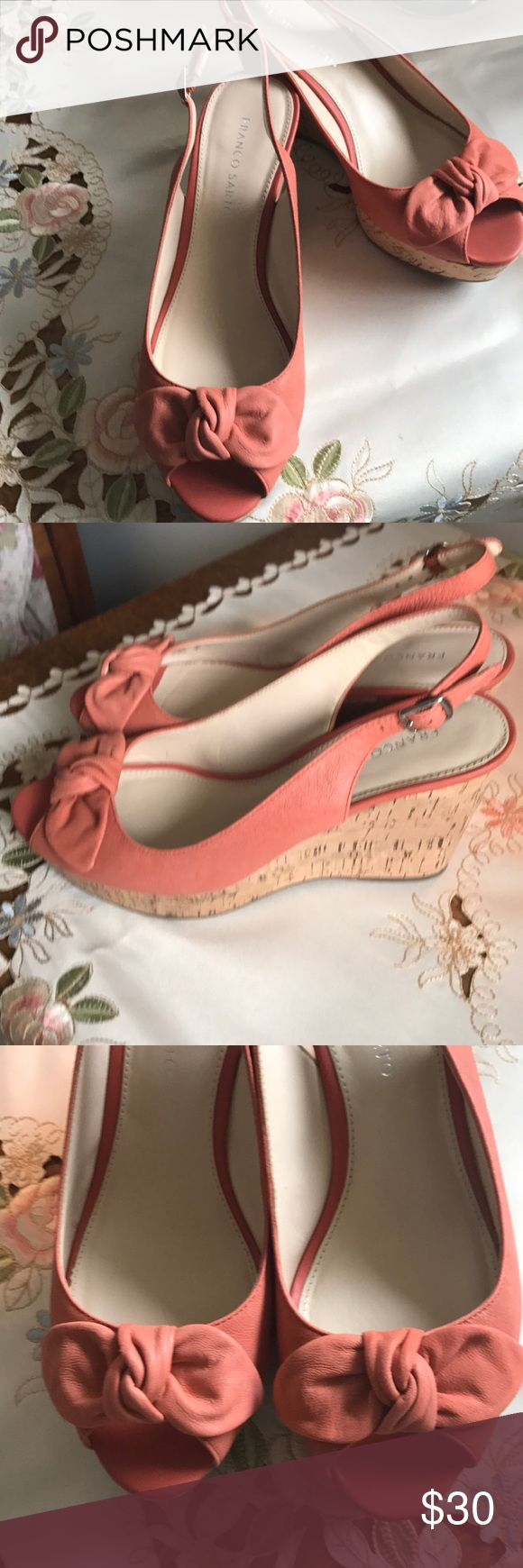 """Franco Sarto cork wedges with pee toe, size 9. Very sweet corked wedge 3"""", attached bow at toe, peep toe, EUC, dark peach color. Comfortable. Size 9, Franco Sarto. Franco Sarto Shoes Wedges"""