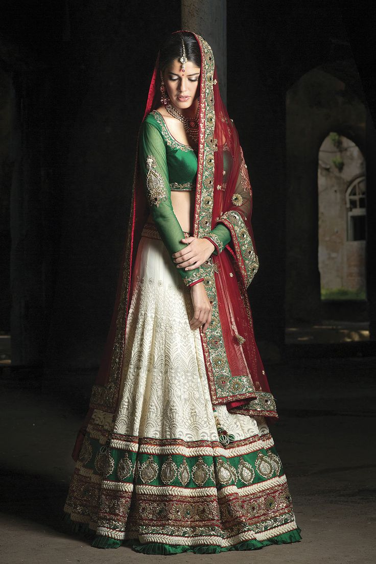 Green and red lengha from the 2013 BenzerWorld collection #indianwedding