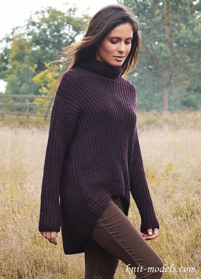Женский свитер вязаный резинкой