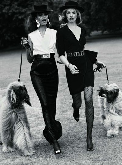 Don't mind us, just walking our dogs in our couture and heels and netted hats. x