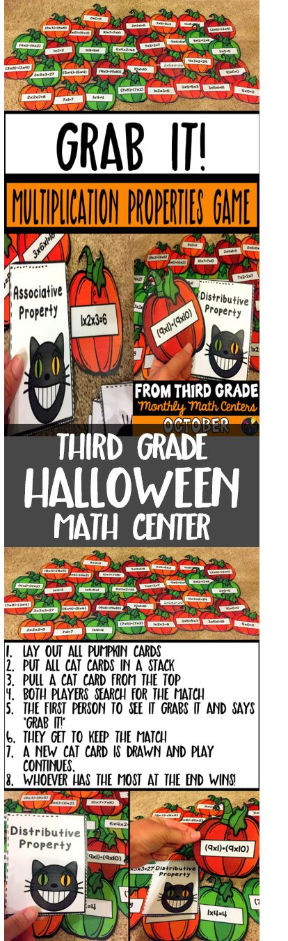 This Halloween math center is perfect for the month of October! Third graders will enjoy this Halloween math game that helps them practice matching multiplication properties to their equations (associative property, commutative property, identity property, zero property, and distributive property).   Grab It: Multiplication Properties Students lay out all of the pumpkin cards that show multiplication equations. Then, they flip over one cat card and have to figure out which equation matches…
