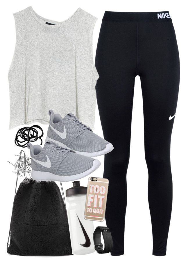 """Outfit for the gym with Nike items"" by ferned ❤ liked on Polyvore featuring Monki, NIKE, MINKPINK, Kara, H&M, Casetify and Fitbit"