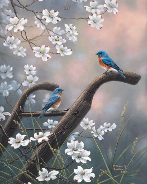 Welcome Home by Abraham Hunter Feathered Friends II Each spring I always get inspired to paint about the life that seems to burst forth after a long cold winter. As I drive to visit the Smoky Mountain