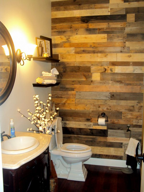 Best Pallet Wall Bathroom Ideas On Pinterest Wood Wall In - Salvage bathroom vanity cabinets for bathroom decor ideas