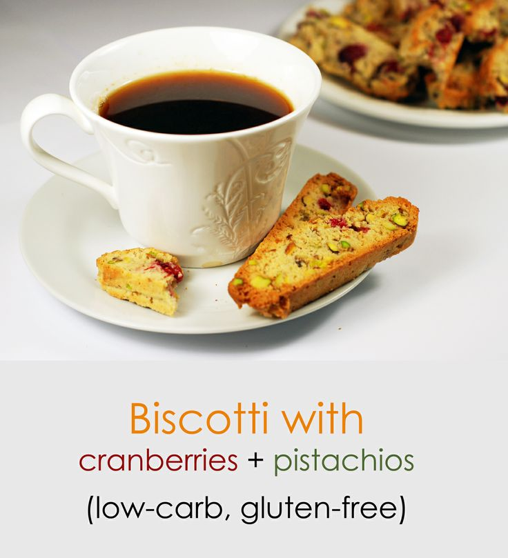 Low-carb, gluten-free biscotti with cranberries and pistachios