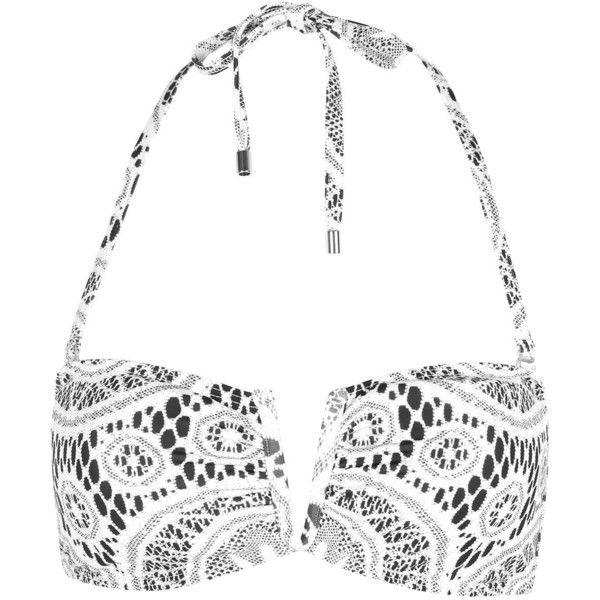 Crochet Print Bandeau Bikini Top by Jaded London (£18) ❤ liked on Polyvore featuring swimwear, bikinis, bikini tops, bikini, topshop, white, bandeau bikini top, beach wear, macrame bikini and topshop bikini