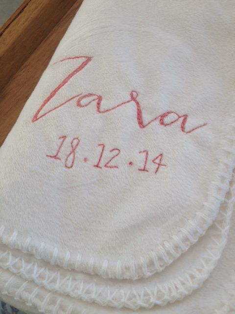 Embroidered baby blanket