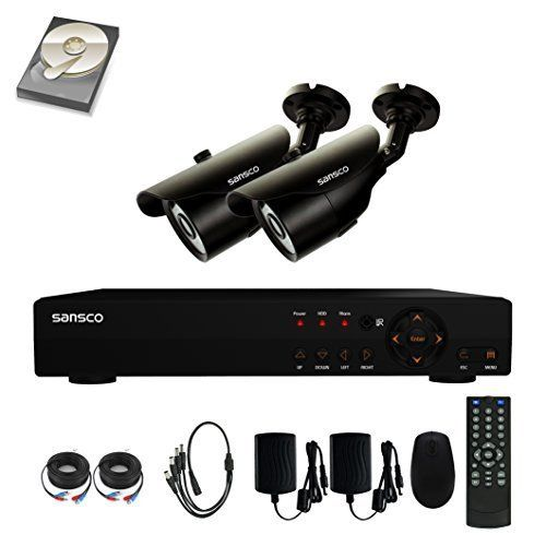 SANSCO 4-Channel 1080N DVR Recorder CCTV Security Systems with 2x Super HD 1MP Outdoor Cameras And 1TB Hard Drive (1280x720 Bullet Cam, Rapid USB Storage Backup, Vandal and Water-Proof Body)